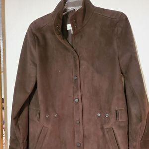 Calvin Klein Brown Polyester/Suede Coat